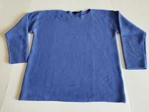 Talbots-Women-s-Size-L-Large-Boat-Neck-Lambs-Wool-Blend-Sweater-Blue-Long-Sleeve