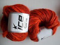 Alpaca Flamme Yarn By Ice Yarns, Orange/copper Lot Of 2, (82 Yds Each)