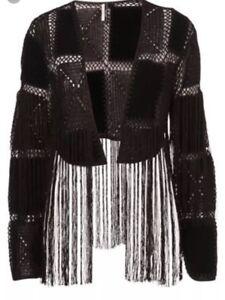 Crochet Black Cardigan Lace Topshop Jacket S Fringe Premium Patch Festival Suede aIqqUBw