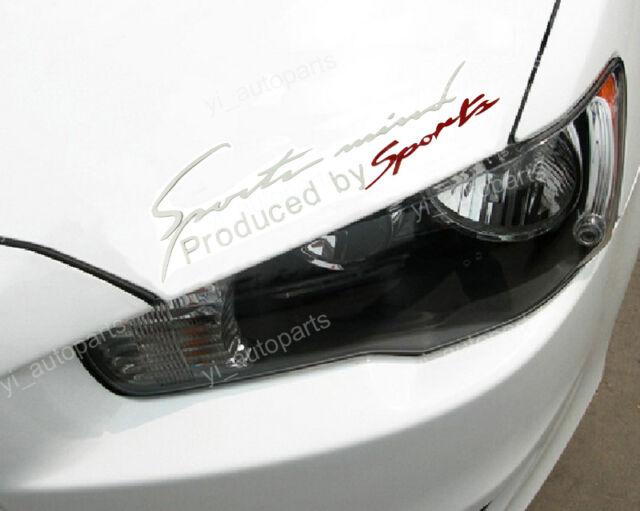 "Sports Mind Silver Car Headlight Taillight Eyebrow Decal Sticker Vinyl 14"" X4.5"""
