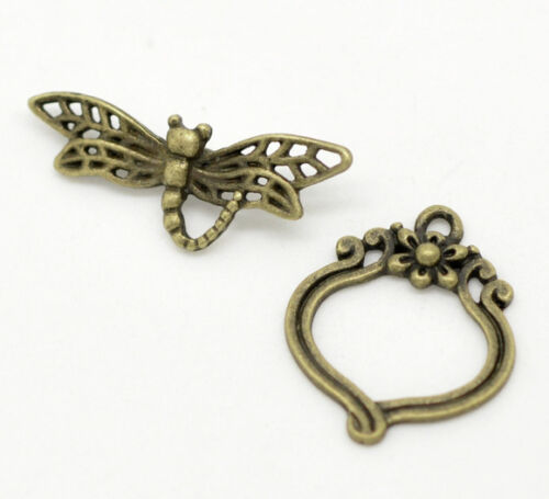 4 sets Toggle clasp dragonfly