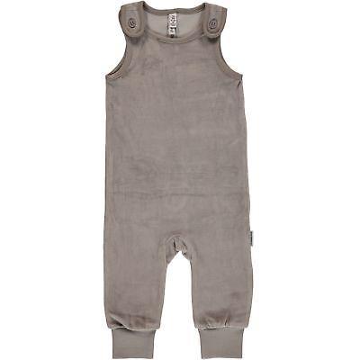 AW18 Maxomorra Light Grey Melange Velour Playsuit Scandi Oganic Cotton Dungarees