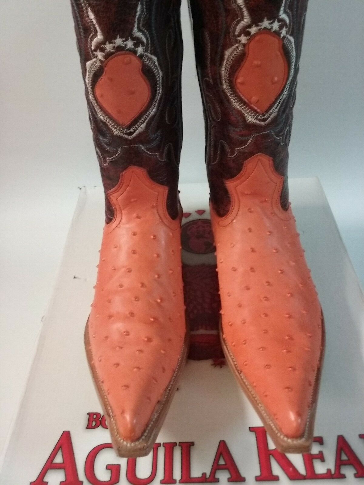 BOTA VAQUERA IMITACION AGUILA REAL  ID 1969 - 980-B PIEL IMIT. AVESTRUZ orange