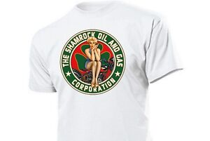 T-shirt-Shamrock-oil-and-gas-corporation-pin-up-vintage-Biker-v8-Hot-Rod-talla-s-5x
