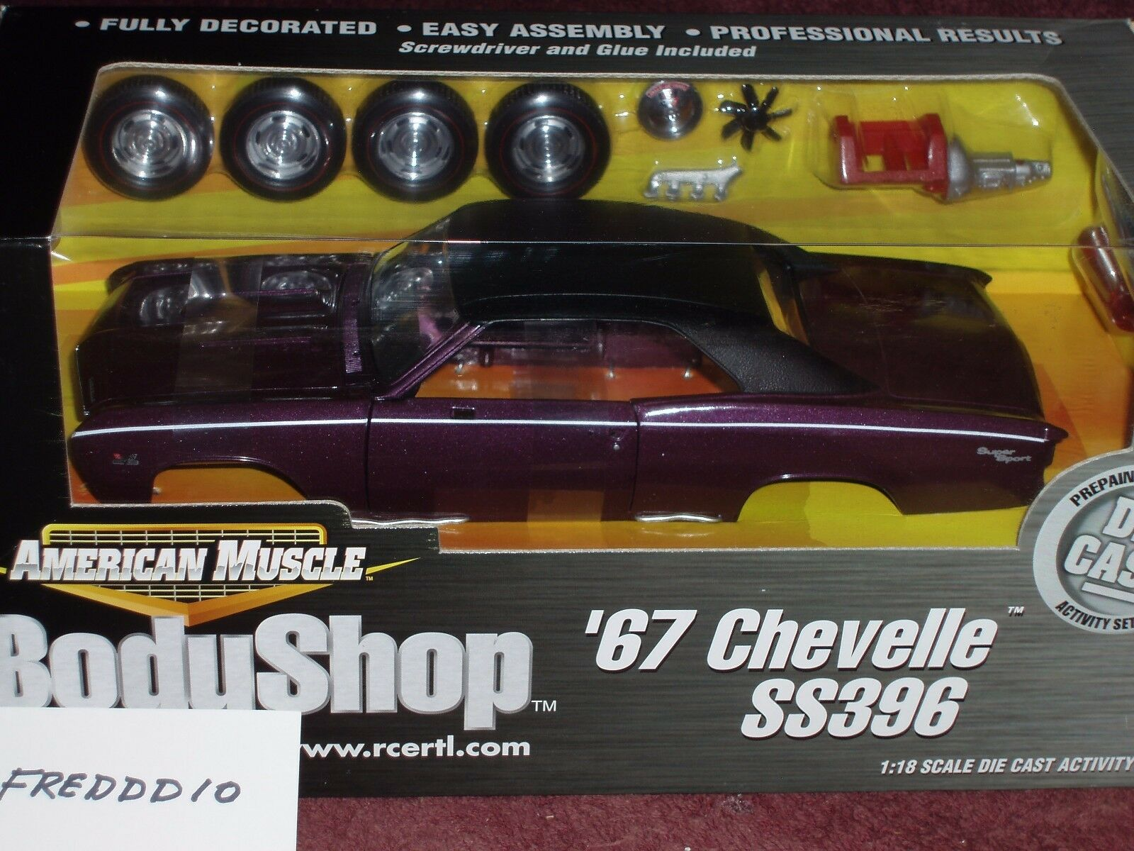 Ertl 1967 chevy chevelle ss396 lila body shop - versammlung - modell - 1   18 vhtf