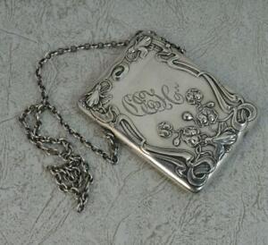 Edwardian Art Nouveau Sterling Silver Card Case Chatelaine