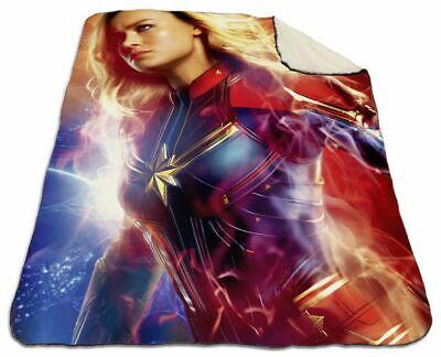 """Brie Larson Captain Marvel Winter Blanket 60/""""x 80/"""" Queen Size NEW Fleece Warm #2"""