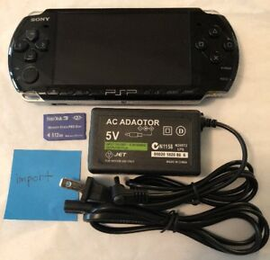 BLACK Sony PSP 3000 System w/ Charger & Memory Card Bundle TESTED WORKS Import