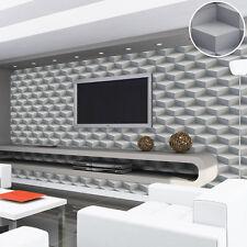 3D Effect Geometric Pattern Feature Modern Vinyl Wallpaper Mural home Rolls Grey
