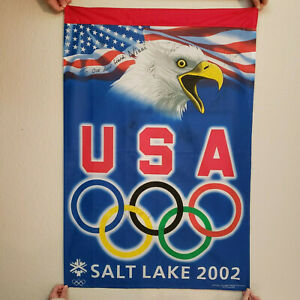 2002 Winter Olympic Flag Salt Lake City signed by 11 Figure Skating Athletes