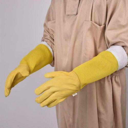 1 Pair Beekeeping Gloves Goat Skin Bee Keeping Vented Sleeves Beekeeper C5A2