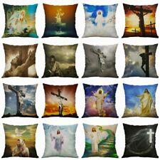 "18/"" God Cross Jesus pillow case Cotton Linen Cushion Cover Sofa Home Decor"