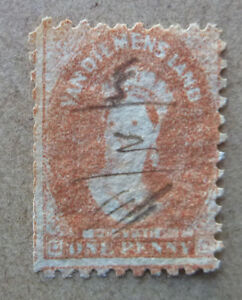 TASMANIA-1855-QUEEN-VIC-1d-BROWN-RED-STAMP