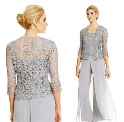New Silver Mother Of The Bride Dress Chiffon Pant Suit With Lace Jackets Custom