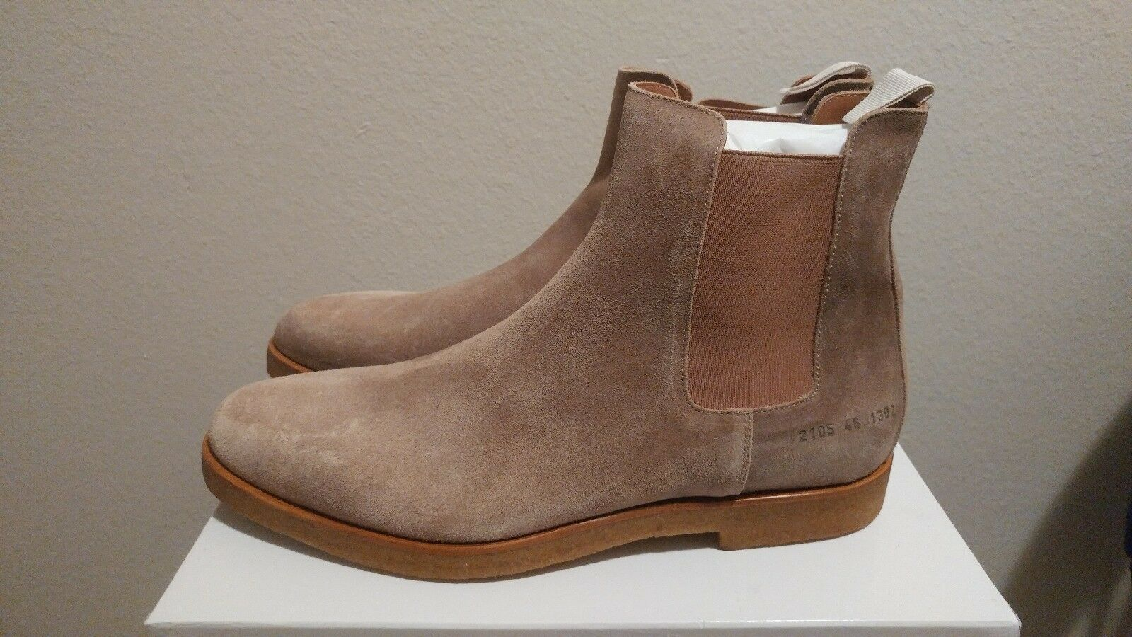 CP Common Projects Chelsea Suede Boots Wax Suede Tan Eu 46 US 13