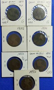 LOT-OF-7-COINS-OF-GREAT-BRITAIN-HALF-PENNY-1870-1874-1875-1876-1877-1890-1893