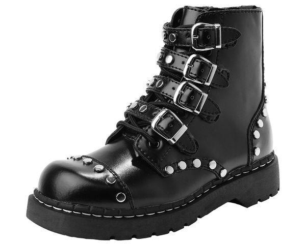 T.U.K. T2240 Tuk señoras Tachonado Tachonado Tachonado Negro Y Flejes anárquico bota de combate  más vendido