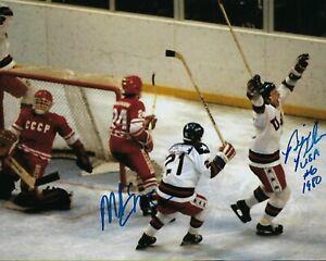 GFA 1980 Miracle on Ice * MIKE ERUZIONE & BILL BAKER * Signed 8x10 Photo COA