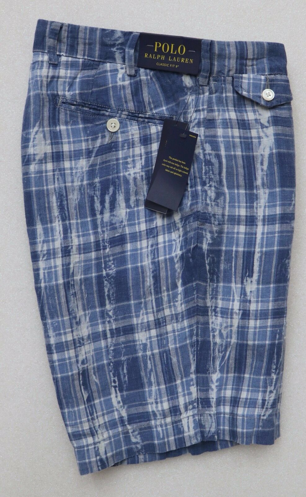 bcf6f3e49c6db5 POLO RALPH LAUREN MEN S 100% LINEN CASUAL SHORTS INDIA MADRAS blueE PLAID  CLASSIC