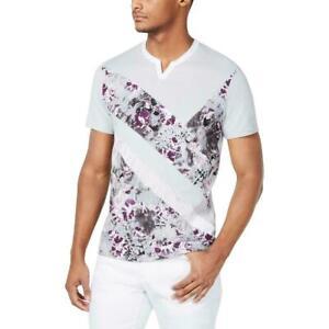 INC-Mens-T-Shirt-Gray-Multi-Size-2XL-Graphic-Print-Split-Neck-Tee-29-061