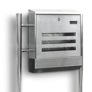 edelstahl standbriefkasten eckig postbriefkasten postkasten mit zeitungsfach ebay. Black Bedroom Furniture Sets. Home Design Ideas