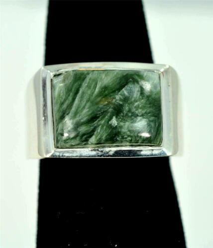 Rare Natural SERAPHINITE 925 Sterling Silver Mens Ring #MF2