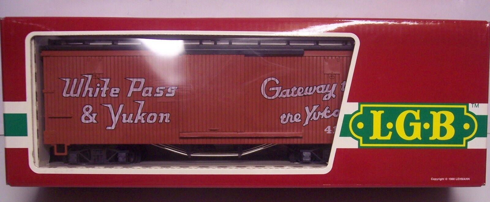 LGB G-GAUGE WHITE PASS & YUKON box car NEW IN BOX