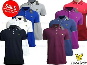 Lyle-and-Scott-Tipped-Polo-Shirt-Short-Sleeve-for-Men-039-s-100-Cotton