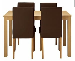 Superb Details About New Oak Effect Dining Table 4 Leather Effect Dining Chairs Gamerscity Chair Design For Home Gamerscityorg