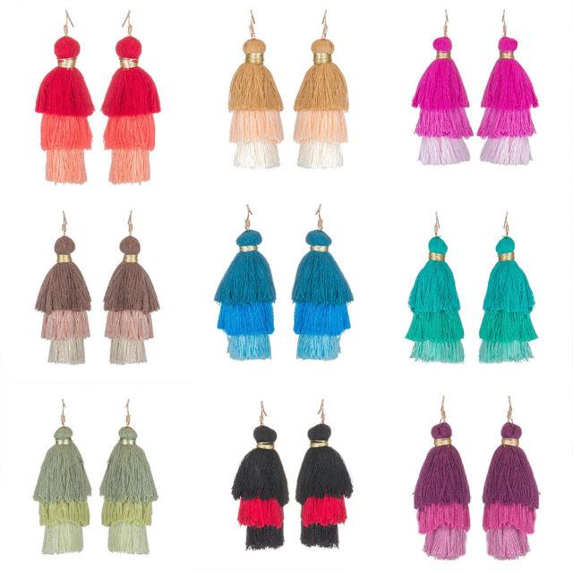 Charm Tassel Earrings Drop Women Bohemian Fringed Dangle 3 Layers Fan Jewelry