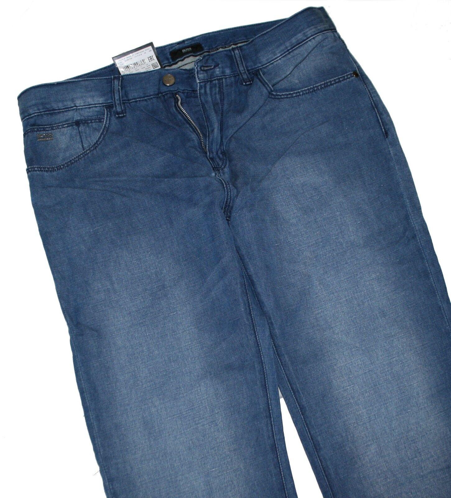 Hugo Boss 50260748 Medium bluee Cotton   Leinen Iowa Jeans mit 30% Leinen