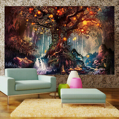 Tentures murale Tapisseries Impression 3D Forêt magique plantes fantastiques