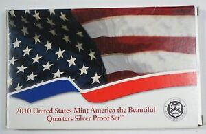 2010-US-Silver-Proof-America-the-Beautiful-Quarters-5-Gem-Coins-w-Box-amp-COA-OGP