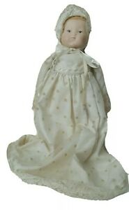Vintage-hand-painted-face-Baby-Bisque-Doll-Christening-Outfit-w-Rattle-rare