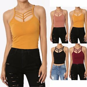 dc7bfbe1ca4 Details about TheMogan Crisscross Strappy Cotton Tank Top Stretch Sexy  Layering Camisole Cami