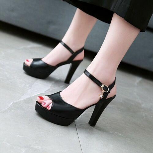 Ladies Platform High Block Heels Rhinestones Ankle Buckle Slingbacks Sandals New