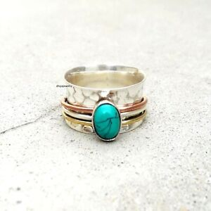 Turquoise-Solid-925-Sterling-Silver-Spinner-Ring-Meditation-Ring-Size-sr123