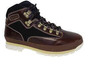 d30f41842c4 Details about Timberland Euro Hiker Fabric Leather Mens Hiking Boots Lace  Blue Brown A11UA D62