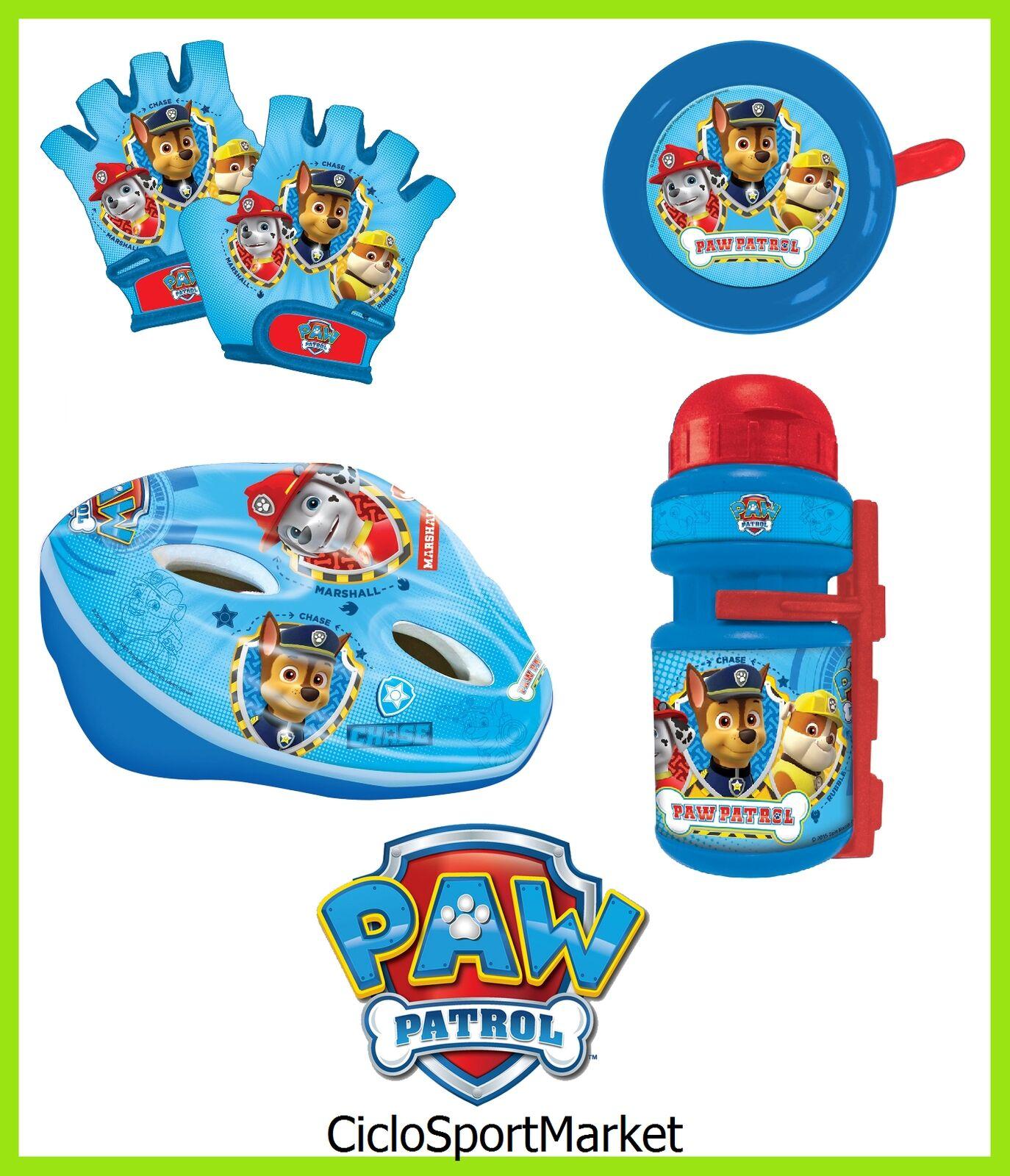 Satz  Pfote-Patrouille  Kinder Helm+Fahrradklingel + Handschuhe+Wasserflasche