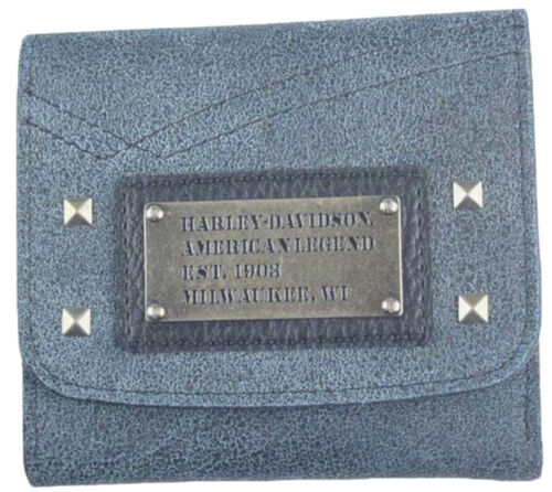 Harley-Davidson® Womens Black /& Blue Stonewashed Leather Tri-fold Wallet SD2582L