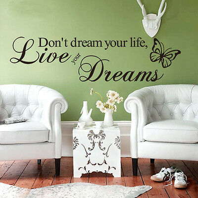 2015 Chic Word Live Your Dream Quote Wall Sticker Room Decor Art Removable Decal