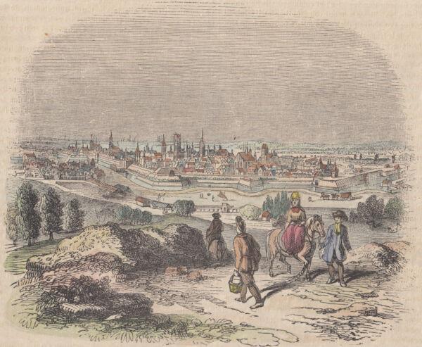 Aktiv Danzig/gdansk Stadtansicht Seltene Colorierte Holzstich-lithographie 1859 Nachfrage üBer Dem Angebot