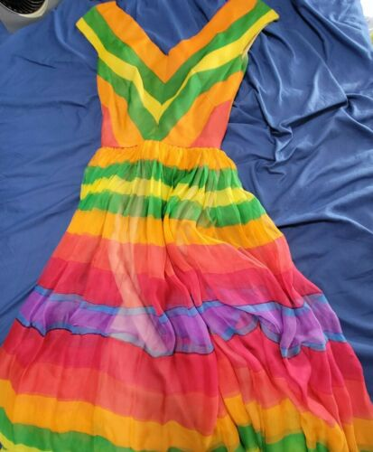 1950's Mollie Parnis Rainbow Striped Dress