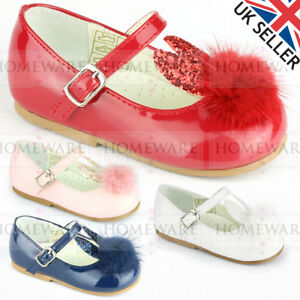 ce7eff3eea53 GIRLS PATENT SHOES POM POM BUNNY MARY JANE EASTER SHOES UK 2-8 PINK ...