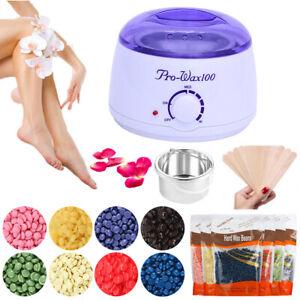 Wax-Warmer-Heater-Pot-Machine-Hair-Removal-Kit-300g-Waxing-Beans-10-Sticks-USA