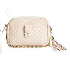 NWT GUESS Classical Quilted Crossbody Handbag Purse Chain Strap Pink w/ tassel