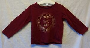 Baby-Girls-YD-Primark-Red-Gold-I-Love-Daddy-Long-Sleeve-Top-Age-9-12-Months