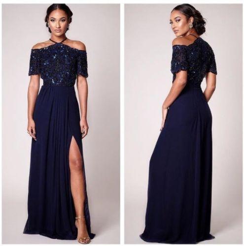 Virgos Lounge Davina Drop Cold Shoulder Train Embellish Party Maxi Dress 8 to 14