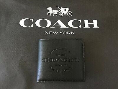 Coach Men/'s F24647 Double Bill Fold Wallet Black Leather Est 1941 NY NWT $178