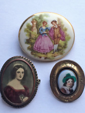 Beautiful Lot of 3 Antique Victorian Vintage Portrait / Pinchbeck Brooches